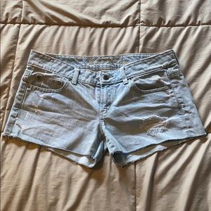 American Eagle Light Distressed Denim Shorts